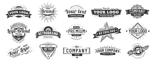 Vintage badge. retro merknaam logo badges, bedrijfslabel en hipster vector illustratie kaderset