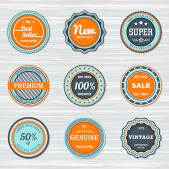 Vintage badges set: bestseller, nieuw, premium, verkoop, super