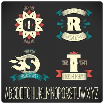 Vintage badges sjablonen met alfabet set