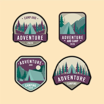 Vintage badges voor kamperen en avonturen