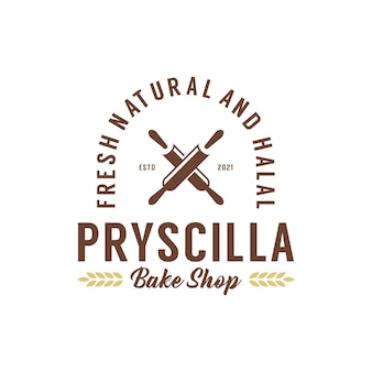 Vintage bakkerij bak winkel badge logo ontwerpsjabloon