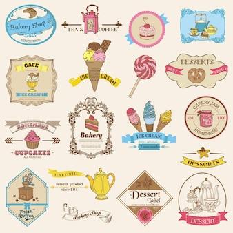 Vintage bakkerij- en dessertetiketten en logo's
