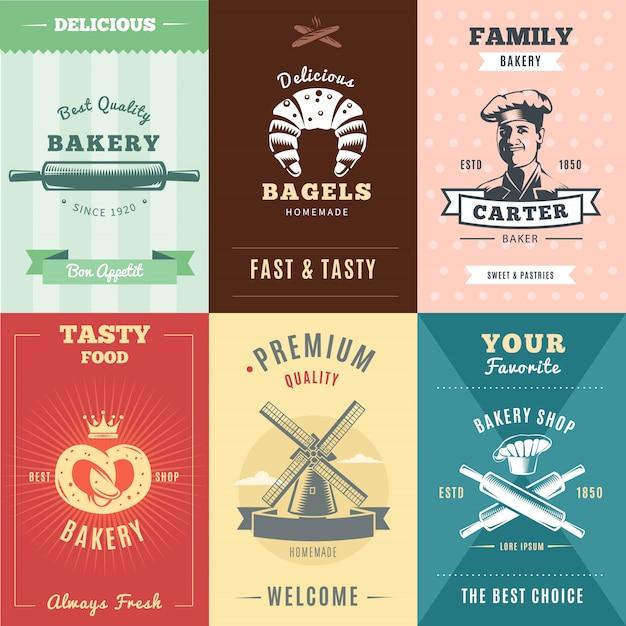 Vintage bakkerij posters met inscripties deegroller bagels chef pretzel kroon molen en hoed