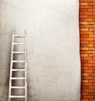 Vintage bakstenen muur achtergrond met houten ladder.