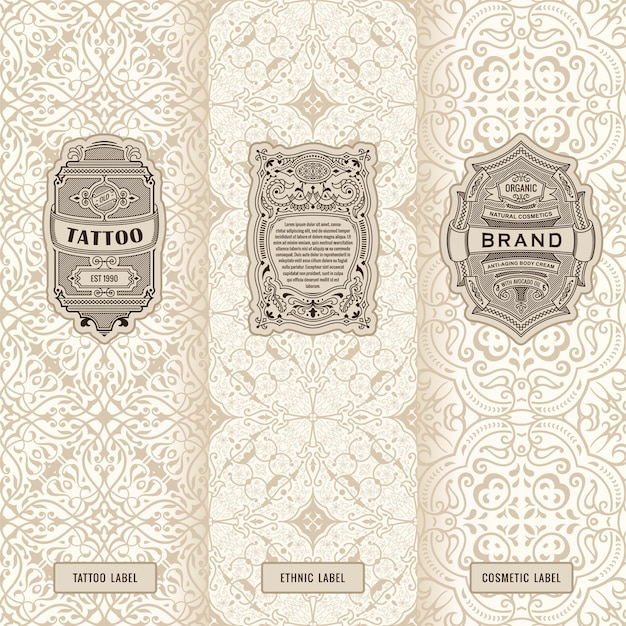 Vintage banners set verticale etiketten verpakking frames ontwerp
