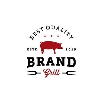 Vintage bbq grill badge logo ontwerpsjabloon