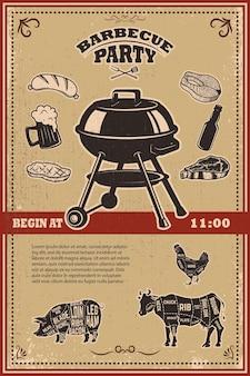 Vintage bbq-partij poster sjabloon. grill, biefstuk, vlees, bierfles en mok.