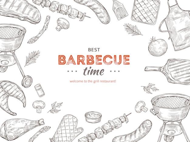 Vintage bbq-poster. barbecue doodle grill kip barbecue gegrilde groenten gebakken steak vlees picknick zomer uitnodiging voor feestje