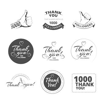 Vintage bedankt badges ingesteld