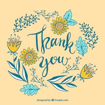 Vintage bedankt u achtergrond met met de hand getekende bladeren en bloemen