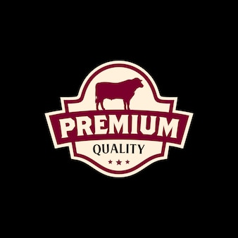 Vintage beef meat sticker label logo ontwerp
