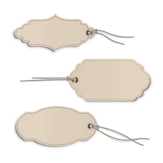 Vintage beige prijs of label tags sjabloon set