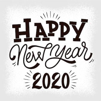 Vintage belettering gelukkig nieuw jaar 2020