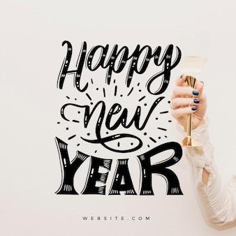 Vintage belettering gelukkig nieuwjaar 2021