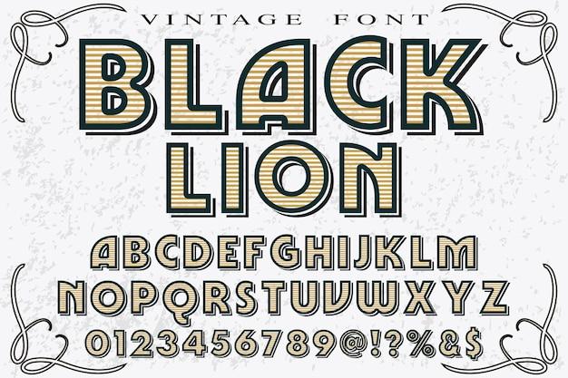Vintage belettering grafische stijl zwarte leeuw
