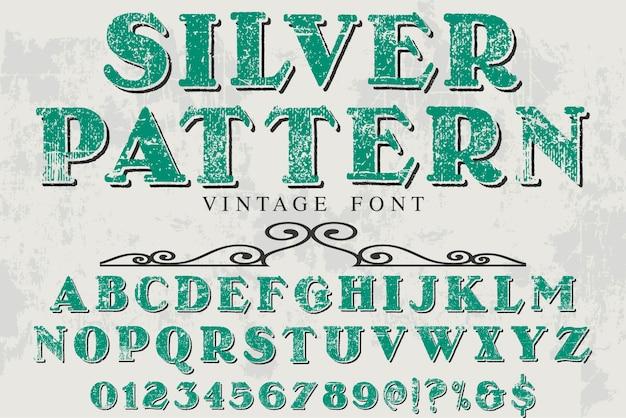 Vintage belettering label ontwerp zilveren patroon