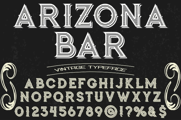 Vintage belettering lettertype ontwerp arizona bar
