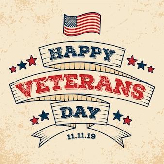 Vintage belettering veteranen dag achtergrond