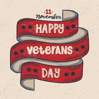 Vintage belettering veteranen dag achtergrondkleur