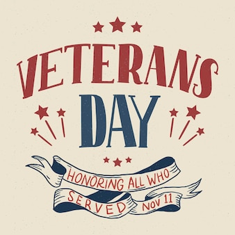 Vintage belettering veteranen dag behang