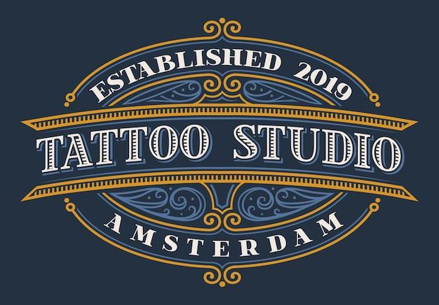 Vintage belettering voor tattoo studio op donkere achtergrond. alle elementen en tekst zijn in aparte groepen