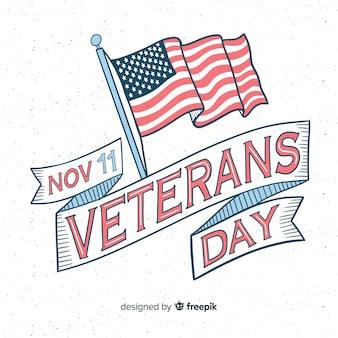 Vintage belettering voor veteranendag met vlag