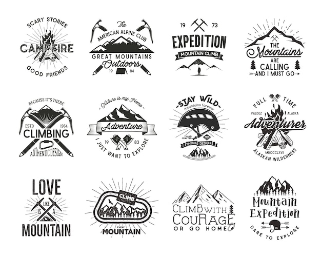 Vintage bergbeklimmen badges. klimmen logo, vintage vector emblemen. beklim alpinismeuitrusting - helm, karabijnhaak, kampvuur. retro t-shirtontwerp. oude stijl illustratie. boekdruk effect. volledige set.