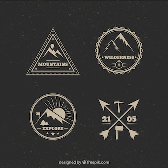 Vintage bergbeklimmen logos