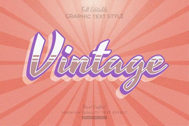 Vintage bewerkbare premium teksteffect lettertypestijl
