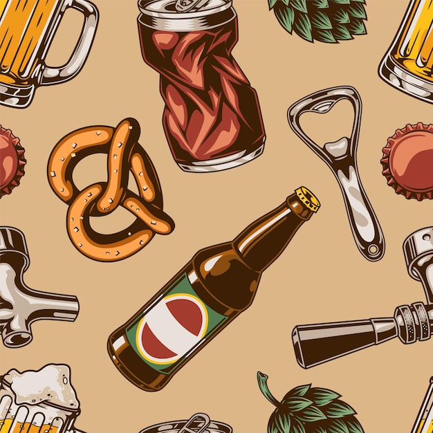 Vintage bier elementen naadloos patroon