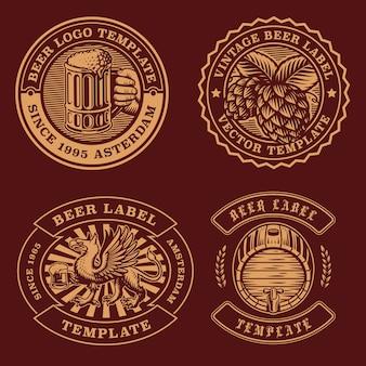 Vintage bier emblemen bundel