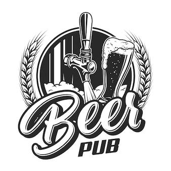 Vintage bier pub embleem