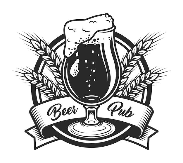 Vintage bier pub labelsjabloon