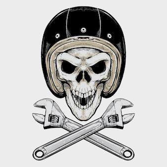 Vintage biker schedel en moersleutel