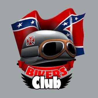 Vintage bikers club-logo met amerikaanse vlag confirmation.