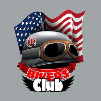 Vintage bikers club-logo, met amerikaanse vlag.
