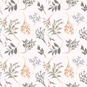Vintage bladeren blad aquarel patroon