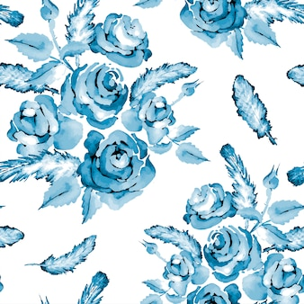 Vintage blauw naadloos patroon