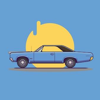Vintage blauwe auto illustratie