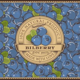 Vintage blauwe bosbes label