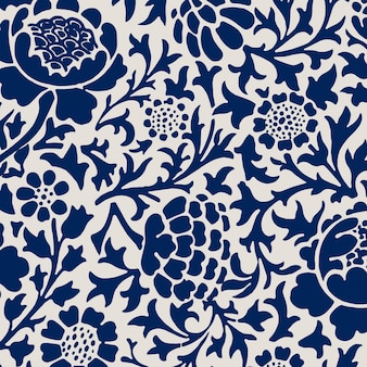 Vintage blauwe chrysant bloemenpatroon