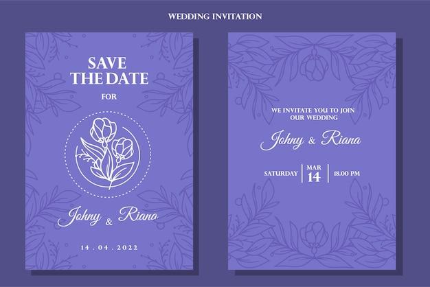 Vintage blauwe hand getrokken bloemen bruiloft uitnodiging achtergrond