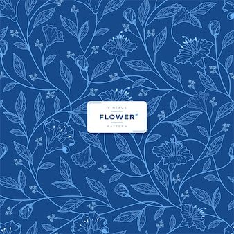 Vintage blauwe inkt bloemenpatroon
