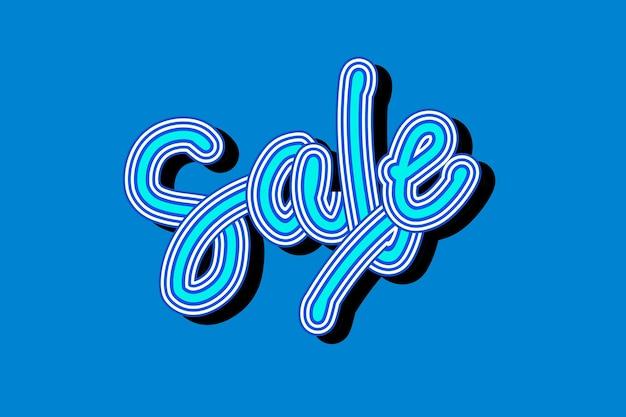Vintage blauwe schaduw verkoop cursief lettertype behang