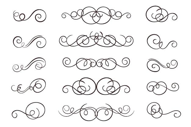 Vintage bloeien swirl kalligrafische set