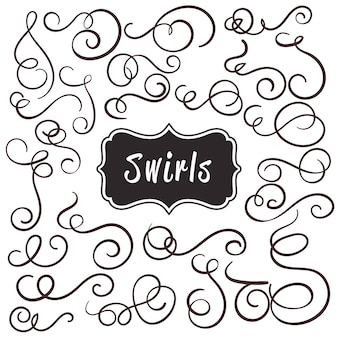 Vintage bloeien swirl kalligrafische set.