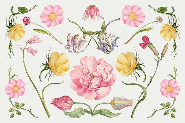 Vintage bloeiende bloem illustratie set