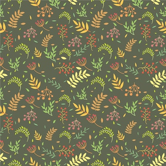 Vintage bloem en blad naadloos patroonontwerp