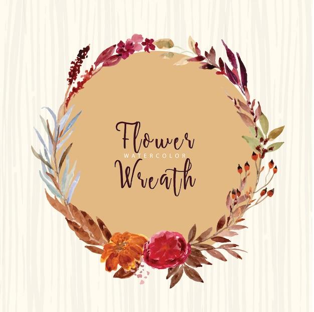 Vintage bloem en takken aquarel krans,