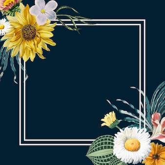 Vintage bloem frame in aquarel stijl